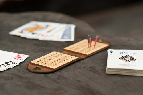 Leather and Birch Travel Criibbage