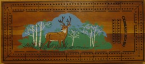 Mid Century Deer In The Woods Cribbage Board - Very similar design to the Crisloid Co.'s Cribbage board, but has no manufacturers identification. Either someone used Crisloids board design, or Crisloid may have been manufacturing these as a private label item.