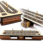 Heirloom Quality Maple and Rosewood 3 Track Continuous Play Cribbage Board