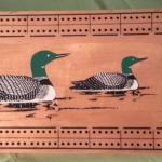 Mid Century Screen Printed Loon Cribbage Board