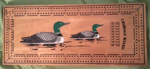 Mid Century Loon Cribbage Board - Very similar design to the Crisloid Co.'s Cribbage board, but has no manufacturers identification. Either someone used Crisloids board design, or Crisloid may have been manufacturing these as a private label item.