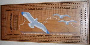 Mid Century Seagull Cribbage Board - Very similar design to the Crisloid Co.'s Cribbage board, but has no manufacturers identification. Either someone used Crisloids board design, or Crisloid may have been manufacturing these as a private label item.