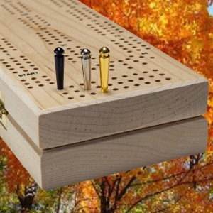 Solid Maple Continuous Play 3 -Track Cribbage Board Cabinet by; WE Games - Cribbage Cabinet includes Easy Grip Pegs, Playing Cards and Hidden Storage Area (Made in USA)