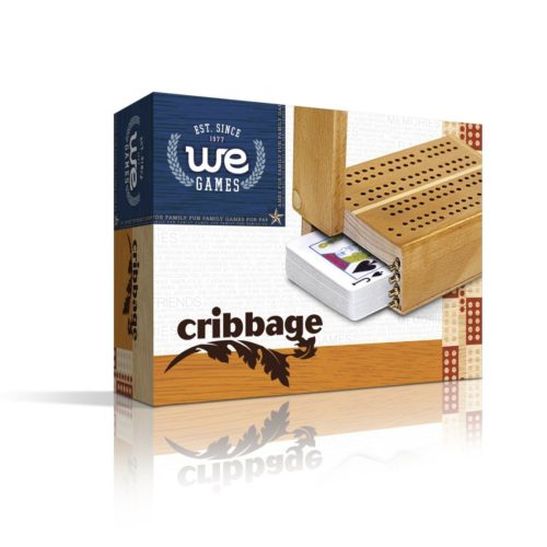 WE Games Mini Travel Cribbage Set - Solid Wood 2 Track Board with Swivel Top and Storage for Cards and Metal Pegs