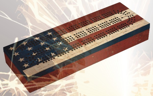 4th of July American Flag Cribbage Board Play For Everyone