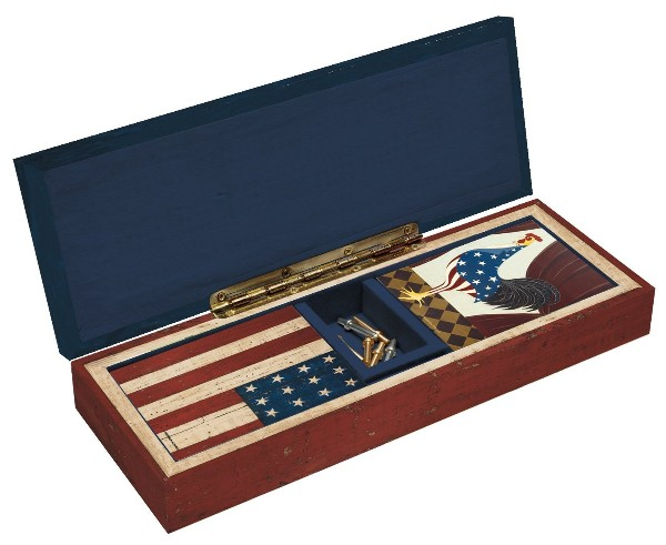 Lift the top on the Grand Old Flag Cribbage Board to reveal a hidden storage area for playing cards and scoring pegs. Inside you will find 2 decks of 4th of July themed playing cards (poker-sized deck) and 9 quality, metal cribbage scoring pegs.