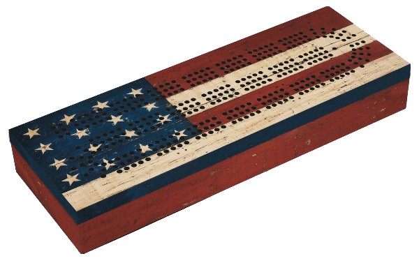 The Grand Old Flag Cribbage Board - Another fine addition to any cribbage board collection, and an especially fun board to play on around the 4th of July and during campaign season.